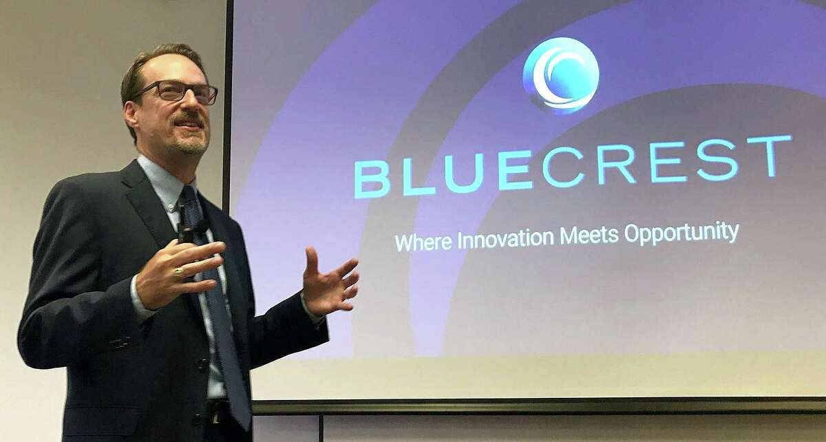 Grant Miller, president and CEO of BlueCrest, talks about the company's rebranding during an employee meeting held Tuesday, July 24, 2018, in Danbury, Conn.