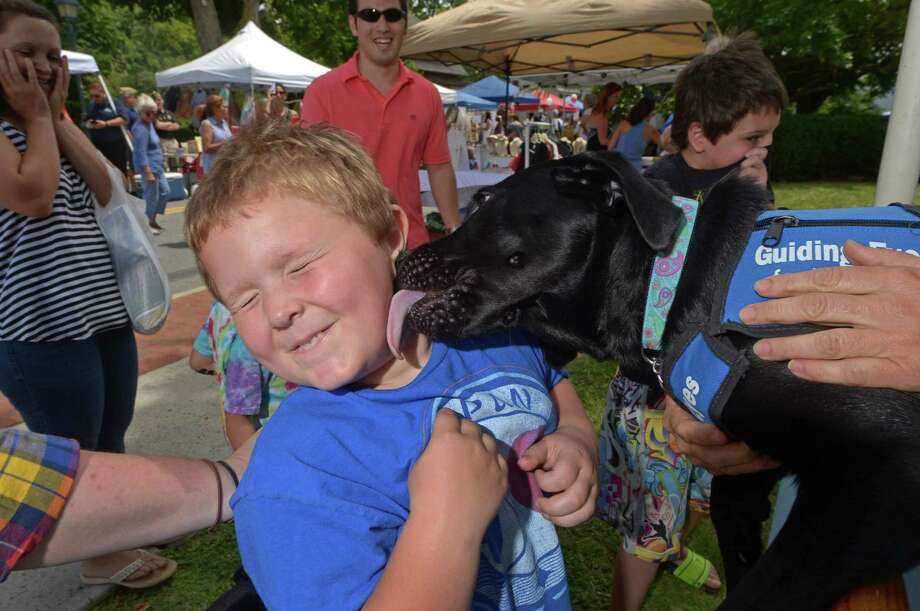Oliver Abear, 5, of Norwalk gets a kiss from Quail a seeing eye dog for Guiding Eyes for the Blind during the Wilton Chamber of Commerce's seventh annual Wilton Street Fair and Sidewalk Sales Saturday, July 21, 2018, in Wilton, Conn. This year's fair featured attractions and activities from over 80 vendors that catered to the whole family. Photo: Erik Trautmann / Hearst Connecticut Media / Norwalk Hour