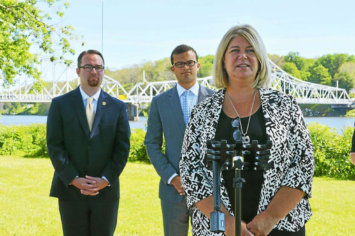 Haddam First Selectwoman Lizz Milardo, right, and state Sen. Art Linares, R-Westbrook, center, have spoken out against Schlag's refusal to stand during the Pledge of Allegiance. At left is state Rep. Bob Siegrist, R-Chester, who has not publicly taken a position on the issue.