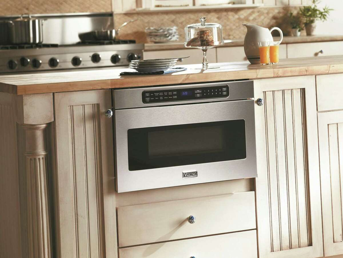 A popular time and space saver is the microwave drawers, like this 1,000-watt model from Viking. Built into, and accessed via, a drawer in the cabinets, these ovens eliminate the need to bend down or reach up to get hot food as you would with, respectively, a countertop or over-the-range microwave. They also have a cleaner look, although you?'ll pay for the aesthetics ?- anywhere from $900 to $1,200 per oven, according to one appliance retailer.