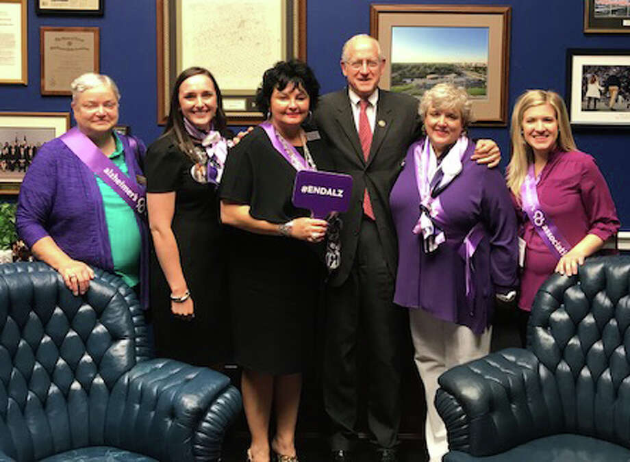Local advocates visited U.S. Rep. Mike Conaway on June 18 about additional funding for Alzheimer's research. Making the trip to the nation's capital were Janet Cross, from left, Madison Peeler, Mary McCourt, Robin Richey and Lauren Berry. Photo: Courtesy Photo