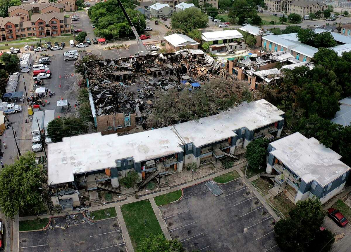 Aerial photograph of the fire scene on July 24, 2018, of the Iconic Village Apartments in San Marcos that killed five residents.