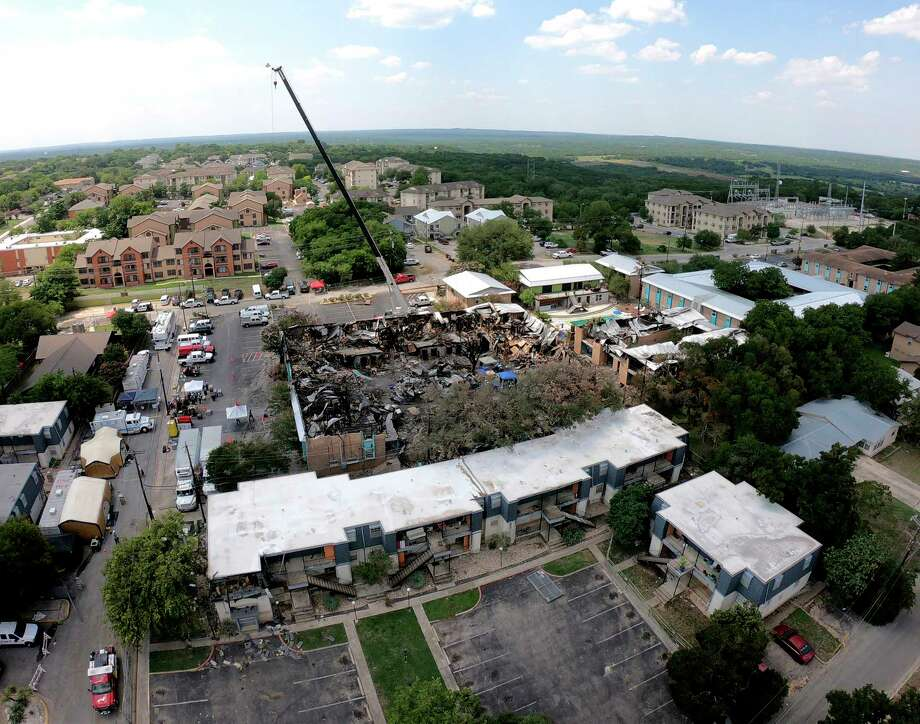 Aerial photograph of the fire scene on July 24, 2018, of the Iconic Village Apartments in San Marcos that killed five residents. Photo: Billy Calzada, Staff Photographer / San Antonio Express-News