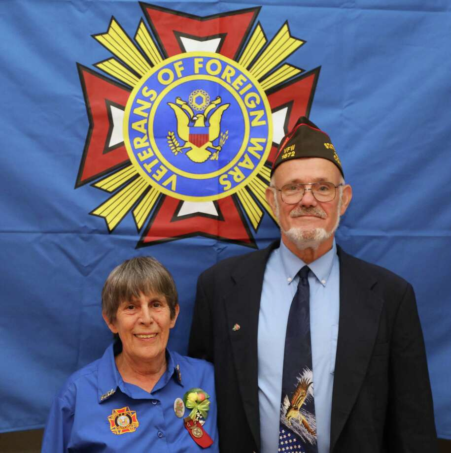 "At the recent State Convention of the Veterans of Foreign Wars, Department of Connecticut, New Milford native Jim Delancy was elected state commander for 2018-19. Delancy joined the United States Air Force upon graduation from New Milford High School in 1968. He served in South East Asia (Vietnam) from 1970-71 and was honorably discharged in 1972. Delancy is well known in the New Milford community for his many years as commander of the Andrew B. Mygatt VFW Post 1672. He is also Charter Organization Representative to Boy Scout Troop 431 and a member of American Legion Post 31. Delancy is known to local veterans for his participation in local parades, visits to local schools, Veterans Day events and other activities. In addition, he hosts a monthly radio talk show, ""Veterans, Let's Talk,"" for WPWL 103.7FM, Pawling, N.Y. Pictured above with him is Laurie Allen, president, Auxiliary to the Veterans of Foreign Wars for 2018-2019 Photo: Courtesy Of Jim Delancy / The News-Times Contributed"