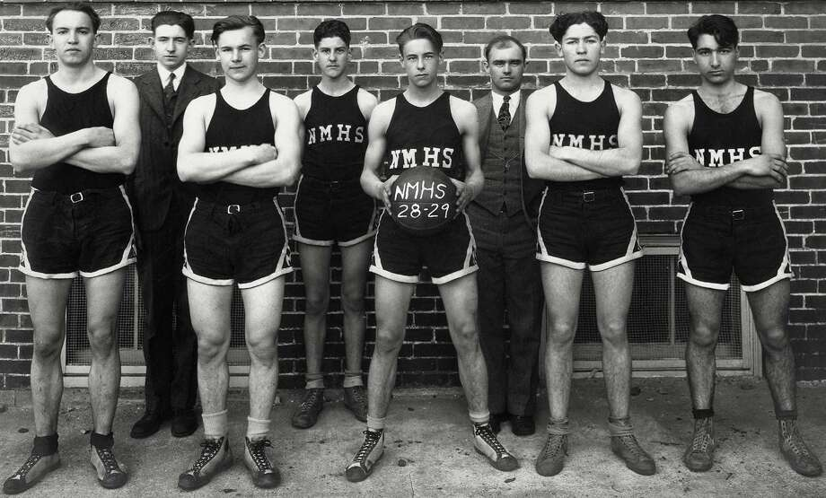 "The 1928-29 New Milford High School boys' basketball team, from left to right, Pat Corey, Larry Lillis, Ken Law, Sherman Collins, captain Fred ""Fritz"" Planz, coach Ray Lumley, Ben Travaglin, and ""Baldy"" Cartelli. If you have a ""Way Back When"" photograph you'd like to share, contact Deborah Rose at drose@newstimes.com or 860-355-7324. Photo: Contributed Photo / Contributed Photo / The News-Times Contributed"