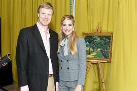 Duncan Sandys, a great-grandson of Winston Churchill, and Montana Beutler attend The Paintings of Sir Winston Churchill at the Battery. July 19, 2018.