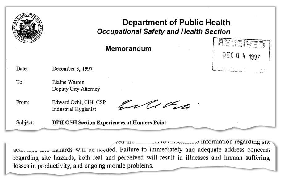 In December 1997, an industrial hygienist with the city health department warned of serious problems at Building 606 and the consequences of not addressing them.
