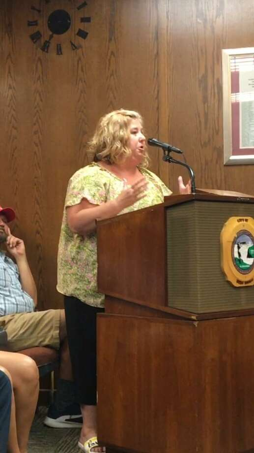 "Danielle Hackett, daughter of the late Joseph Harvey Jr. — a onetime Allingtown firefighter and councilman who died a few years ago — told the City Council on Monday, July 23, 2018 about the look she saw on her mother's face ""of fear, because my father's pension was not in the bank account."" Photo: Mark Zaretsky / Hearst Connecticut Media /"