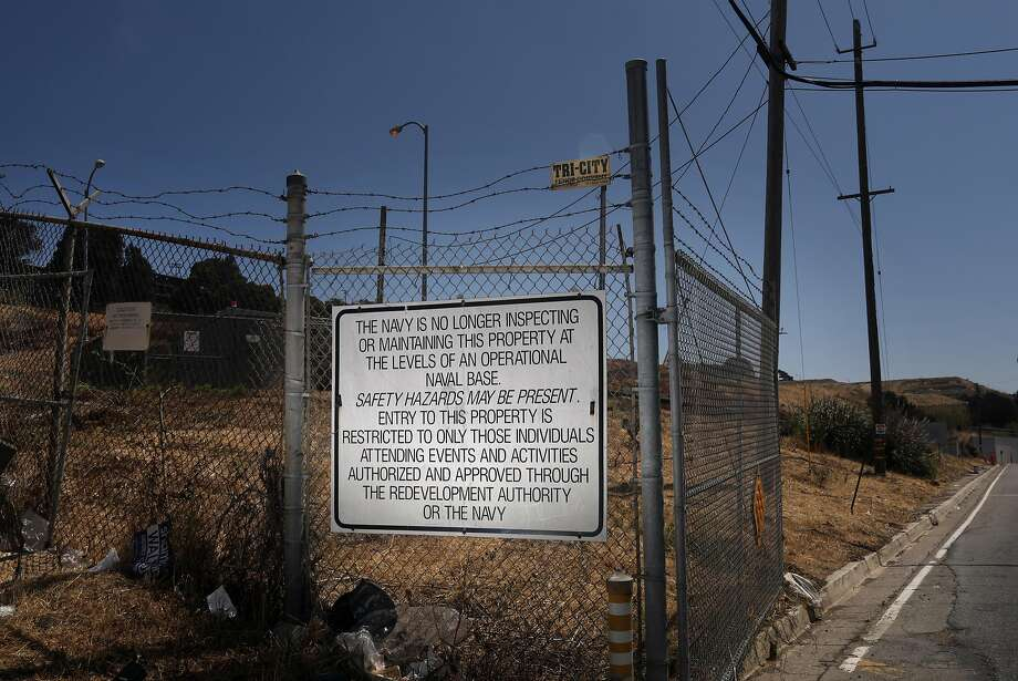 "A sign warns visitors to the former Hunters Point Naval Shipyard that ""safety hazards may be present."" Photo: Photos By Lea Suzuki / The Chronicle"