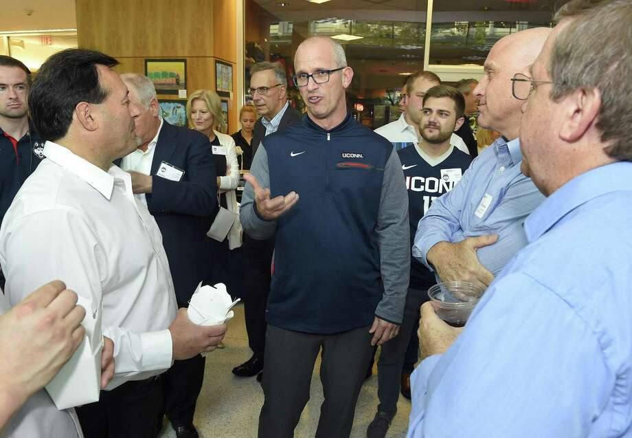 UConn men's basketball coach Dan Hurley chats with fans during the inaugural UConn Huskies Coaches Road Show visit to the campus of UConn Stamford on June 7, 2018. Photo: Matthew Brown / Hearst Connecticut Media / Stamford Advocate