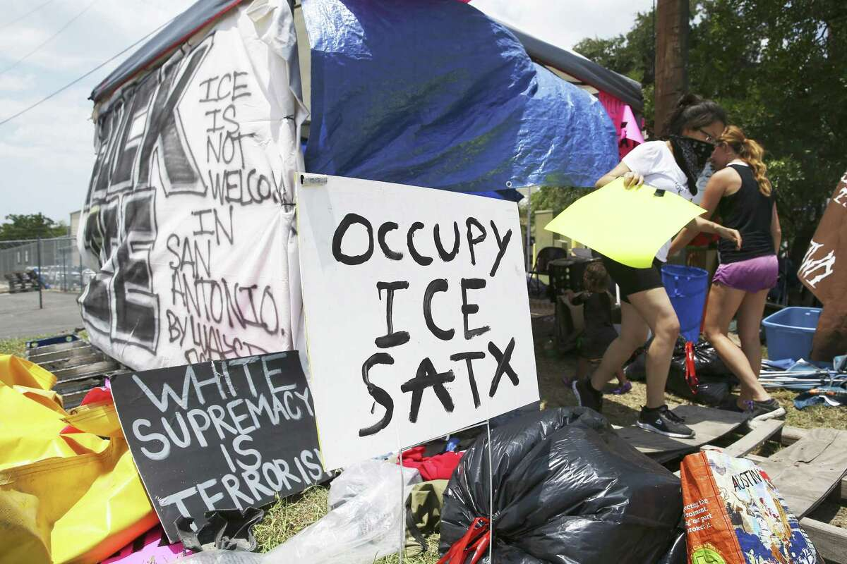 Protesters have set up a tent outside of the ICE at 3523 Crosspoint in San Antonio, where they've been protesting for a week.
