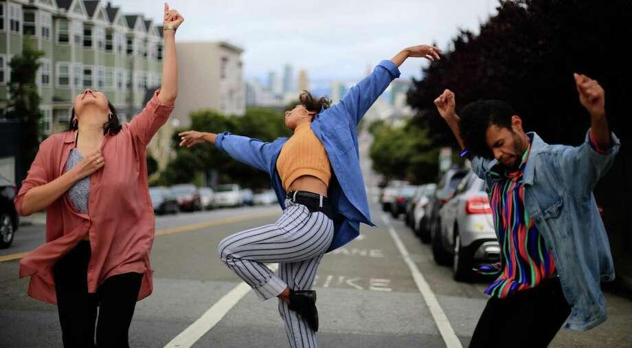 "From left:Christine Chung, Mia Diawara and Jaavon Martin in BATCO's ""I, Too, Sing America."" Photo: Emily Mitchell / BATCO"