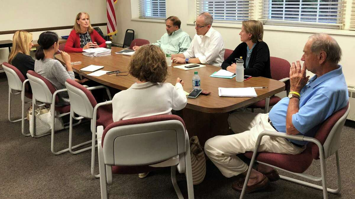 Westport Superintendent of Schools Colleen Palmer speaks at Monday's Representative Town Meeting Education Committee meeting in Town Hall in favor of funding two additional School Resource Officers at the middle schools.