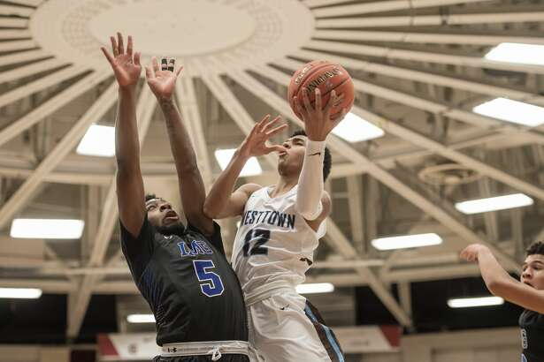 SPRINGFIELD, MA - JANUARY 15: Westtown Moose guard Jalen Gaffney (12) drives to the basket during the second half of the Spalding Hoophall Classic high school basketball game between the Westtown Moose and the IMG Academy Ascenders on January 15, 2018, at the Blake Arena in Springfield, MA .(Photo by John Jones/Icon Sportswire via Getty Images)