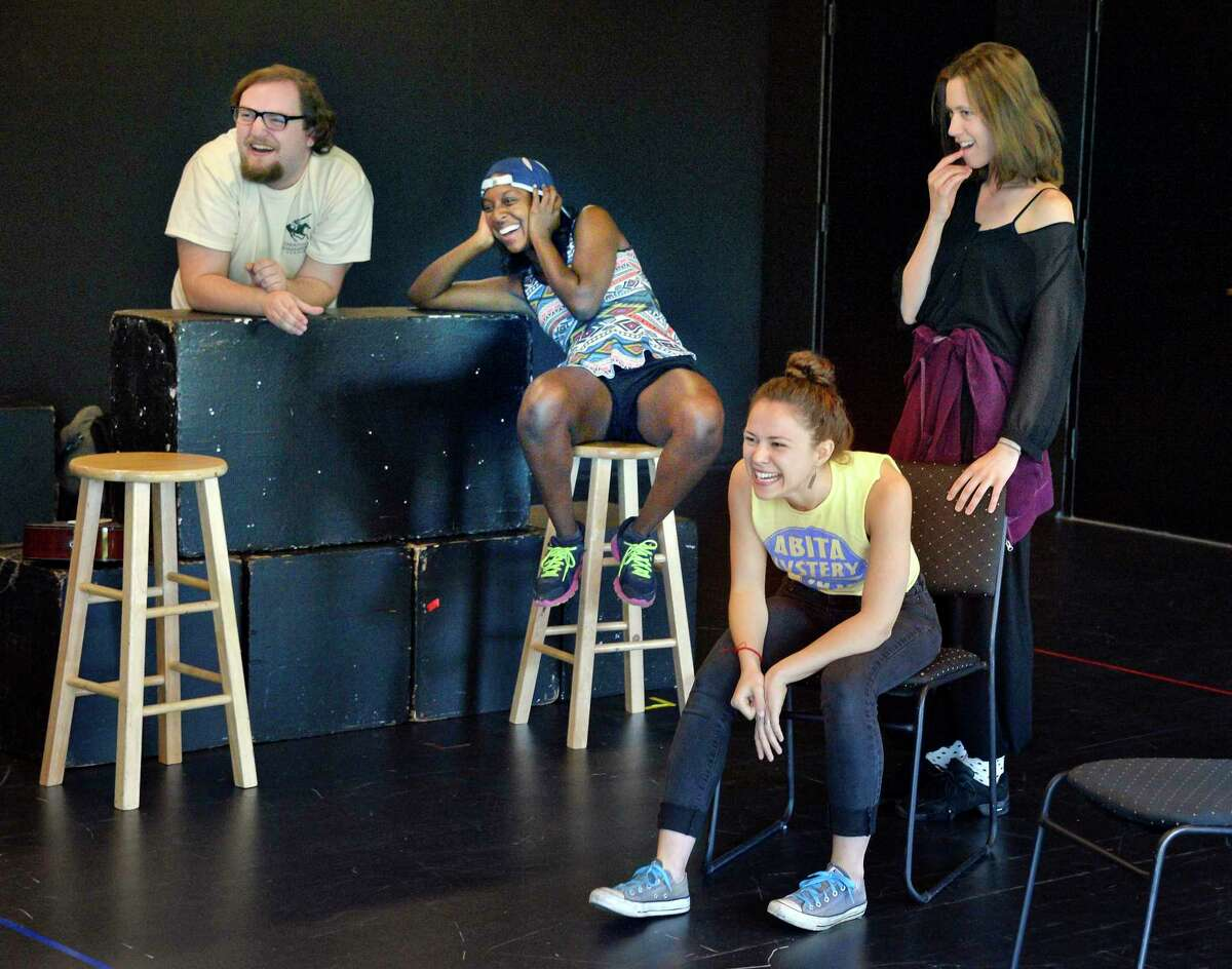 Actors during rehearsals of Saratoga Shakespeare Company's