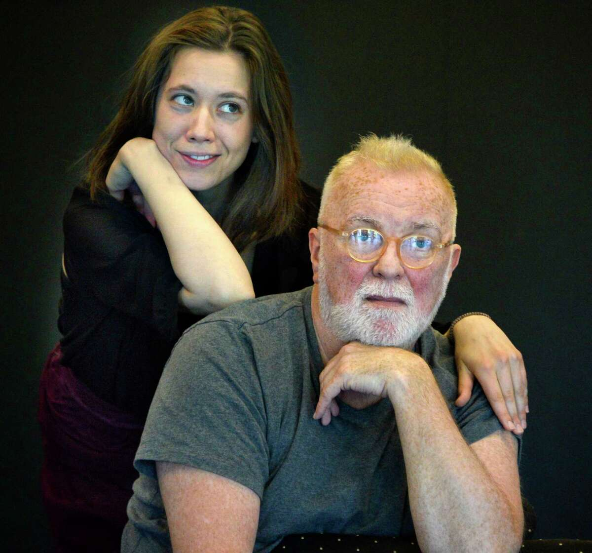 Actors Gwynedd Vetter-Drusch and Kevin McGuire during rehearsals of Saratoga Shakespeare Company's