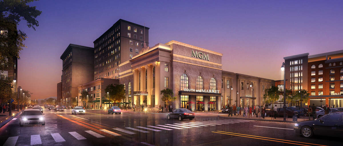 Artist rendering of the MGM Springfield, a new casino in western Massachusetts that is opening on Aug. 24 and will be 100 miles from the Rivers Casino & Resort in Schenectady. (Provided)