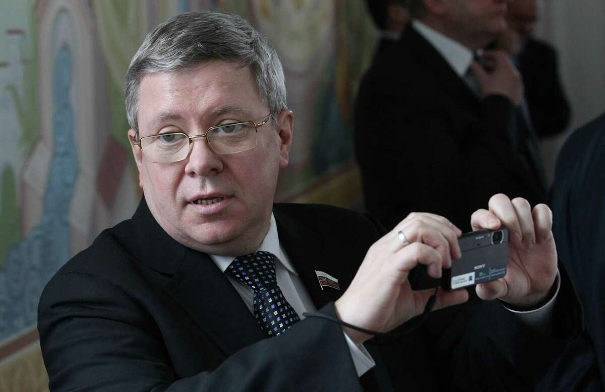 Russian Council of the Federation Deputy Chief Alexander Torshin is seen during a meeting April, 3, 2012 in Maloyaroslavets, Kaluga region, Russia. Ivanov is having a one-day visit to the region. (Photo by Sasha Mordovets/Getty Images)