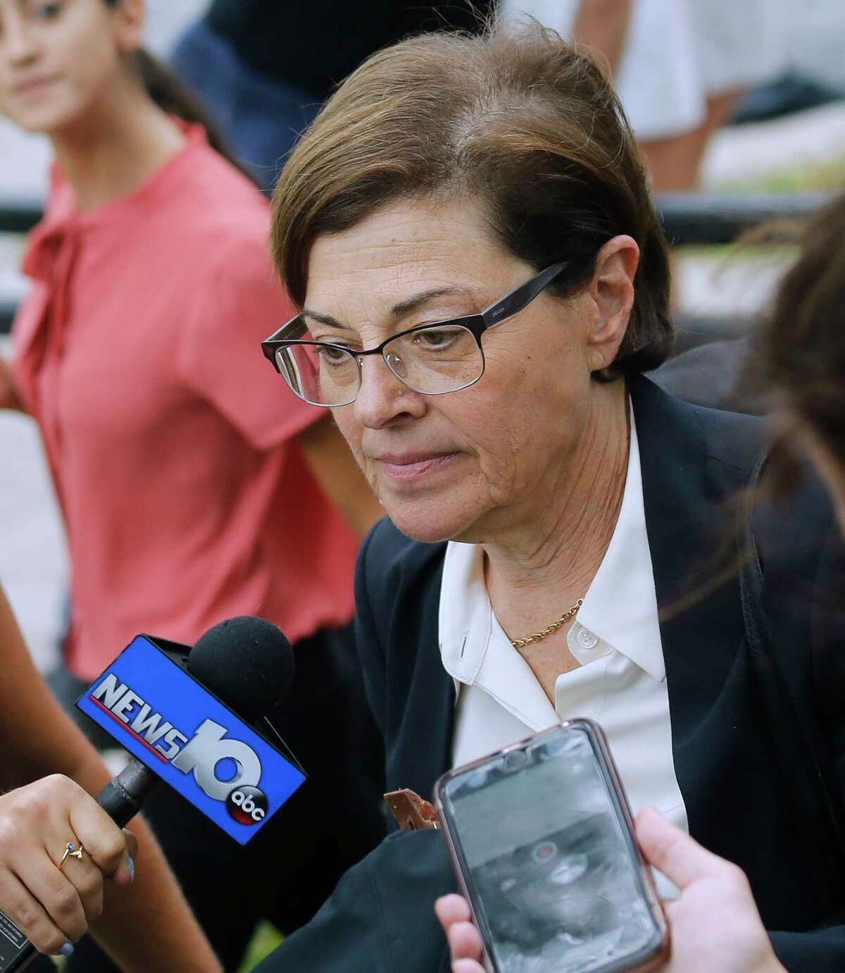 Federal prosecutors say NXIVM co-founder Nancy Salzman should serve at least three years in federal prison for her involvement in the organization. In this photograph, Salzmanleaves federal court in Brooklyn, Wednesday July 25, 2018, in New York.