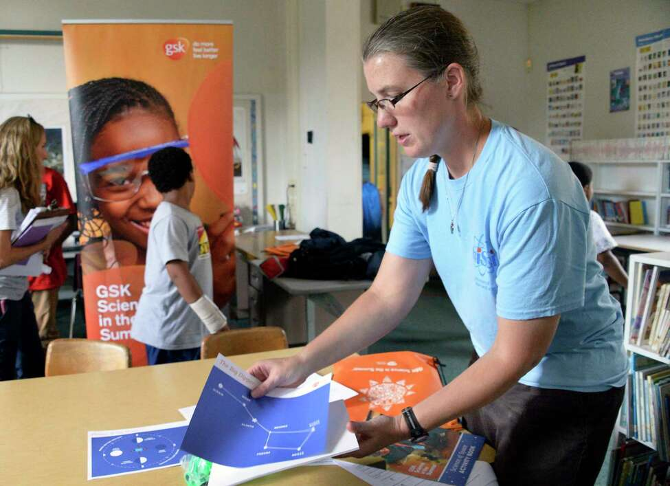 Alison DuBray, a miSci educator, readies GSK Science in the Summer materials for a summer enrichment program at Pleasant Valley Elementary School Tuesday July 24, 2018 in Schenectady, NY. (John Carl D'Annibale/Times Union)