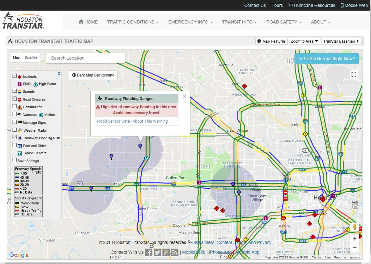 Houston TranStar on Wednesday unveiled an improved flood warning system that alerts drivers to flooded areas away from highways.