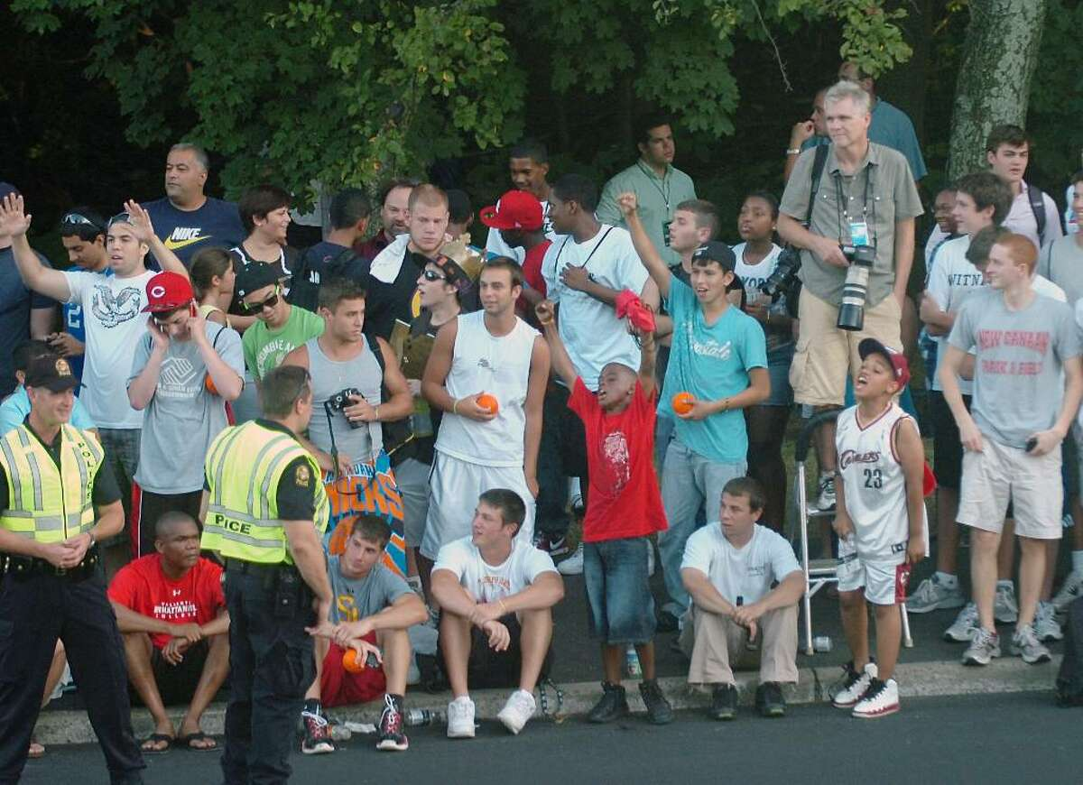 Crowd outside the Boys & Girls Club of Greenwich gathered for the LeBron James press conference, Thursday, July 8, 2010.