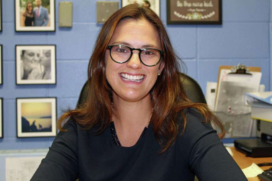 Newly named Silvermine Dual Language Magnet School Principal Elizabeth Chahine, in her office. Photo: Justin Papp /