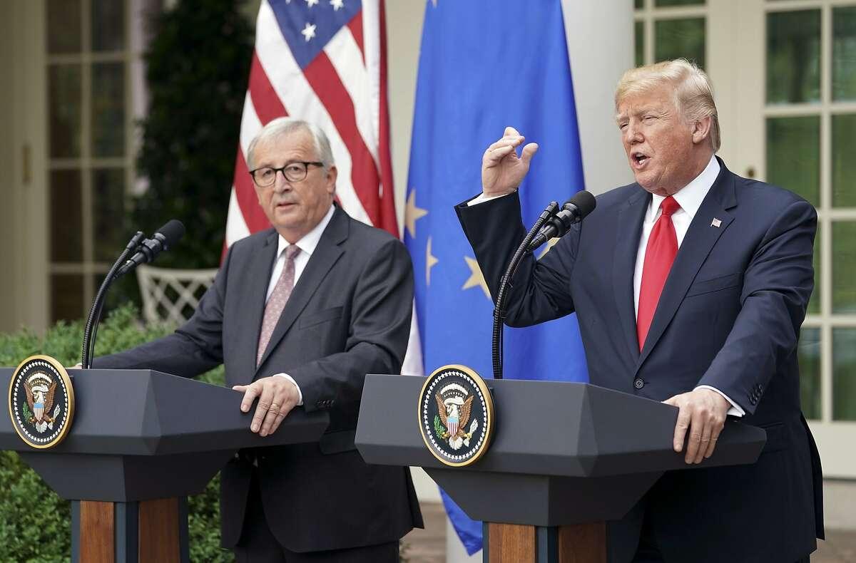 President Donald Trump and European Commission president Jean-Claude Juncker speak in the Rose Garden of the White House, Wednesday, July 25, 2018, in Washington. (AP Photo/Pablo Martinez Monsivais)