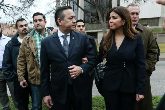 Convicted felon Carlos Uresti wants to be able to start collecting his state pension, which he has valued at more than $80,000 a year. Prosecutors are opposing the request. A portion of his pension would go to his second wife, Lleanna, seen here after Uresti was convicted by a jury on 11 felonies in February.
