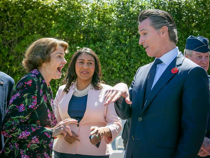 Senator Feinstein with Supervisor London Breed, (middle), and Lt. Governor Gavin Newsom before the Memorial Day Ceremony at the Presidio National Cemetery in San Francisco, Calif., on May 28th, 2018.
