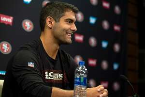 San Francisco 49ers quarterback Jimmy Garoppolo speaks to the media on the first day of the team's training camp, Wednesday, July 25, 2018 in Santa Clara, Calif.