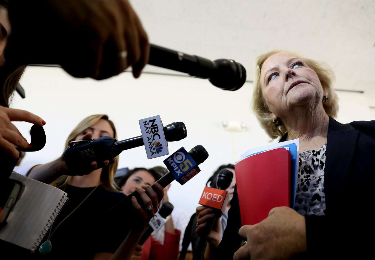 Nancy O'Malley, district attorney for Alameda County, answers questions from the media following the arraignment of John Lee Cowell at Wiley W. Manuel Courthouse in Oakland, Calif. on Wednesday, July 25, 2018. Back-to-back decisions in the last few weeks marked a significant and, to some, puzzling departure from O'Malley's reputation as an unswerving police ally.