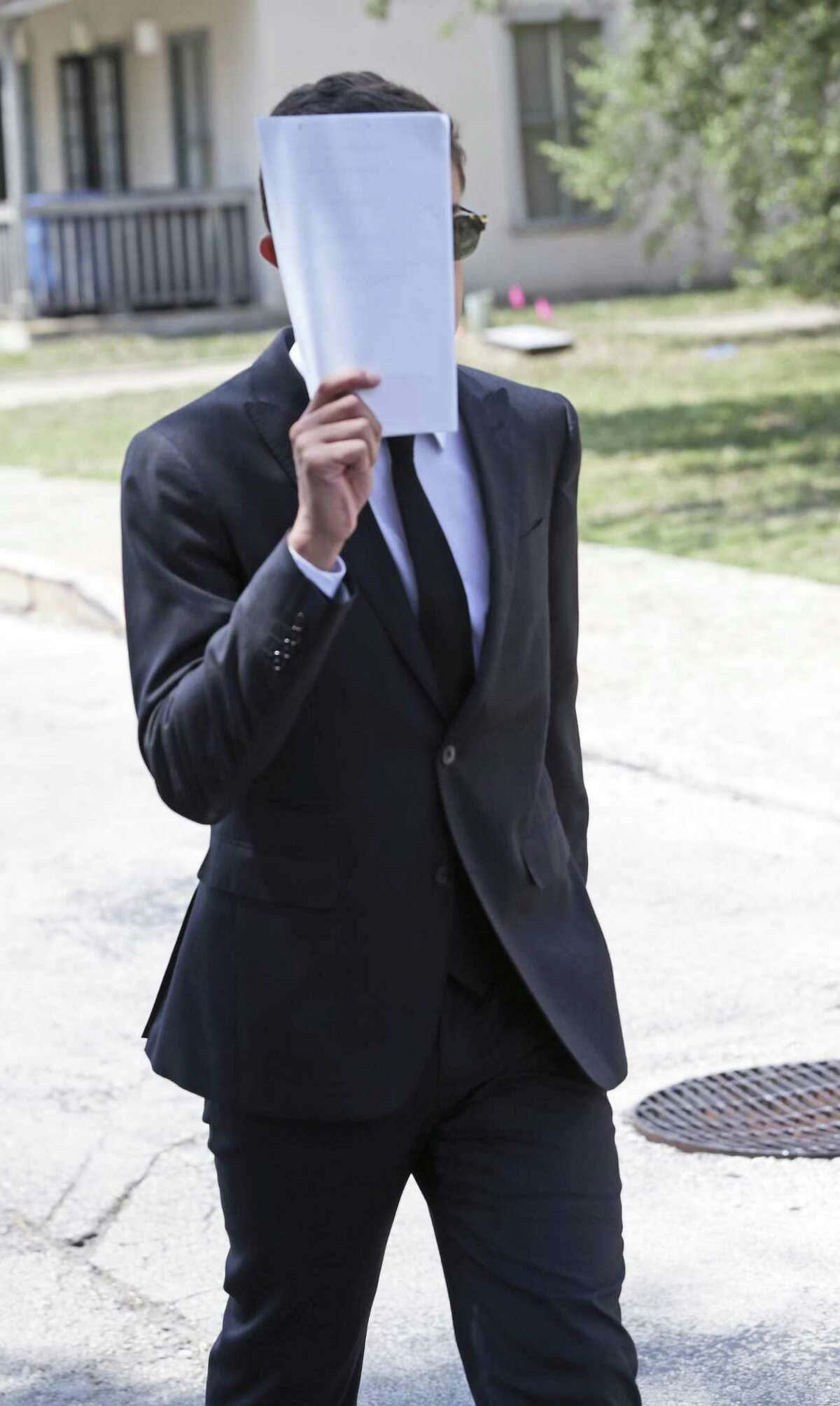 Andres Castaneda leaves the John H. Wood Federal Courthouse after appearing on July 25, 2018.