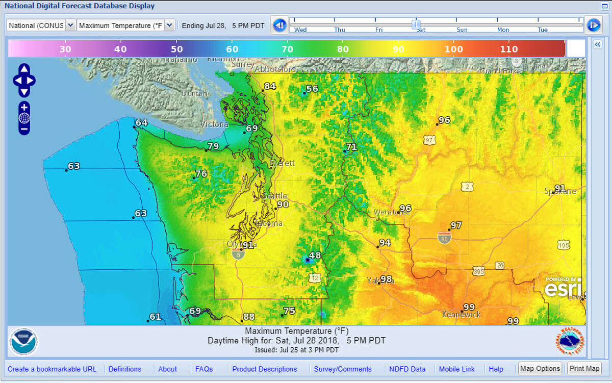 It will continue to be hot in Seattle through the weekend, as shown in this graphical forecast for Saturday.