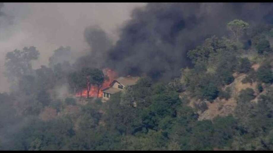 KTVU's helicopter captured images of structures burning during Wednesday's firefight in Clayton. Photo: KTVU