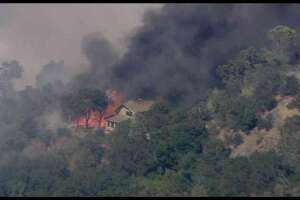 KTVU's helicopter captured images of structures burning during Wednesday's firefight in Clayton.