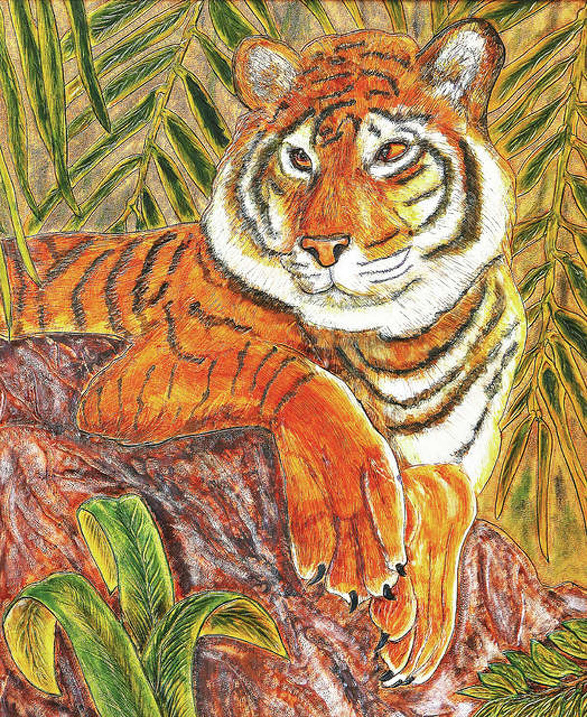 A tiger tooled on leather, then painted, by artist Terry Diveley.