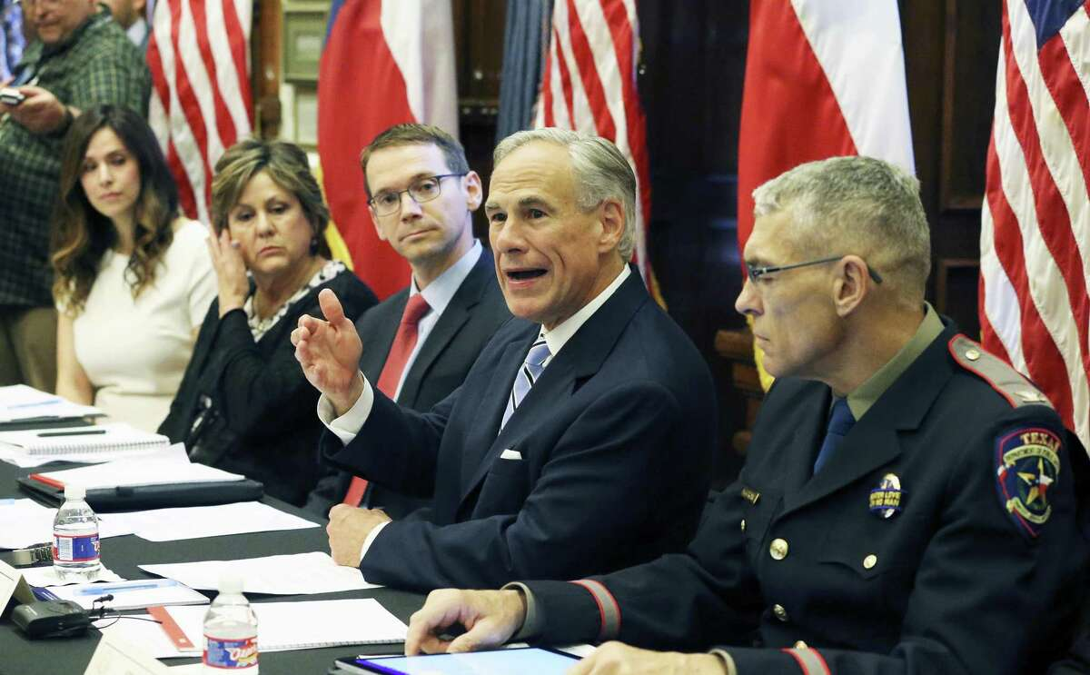 Governor Greg Abbott leads a roundtable discussion in his offices on guns in the wake of the Santa Fe shootings on May 22, 2018.