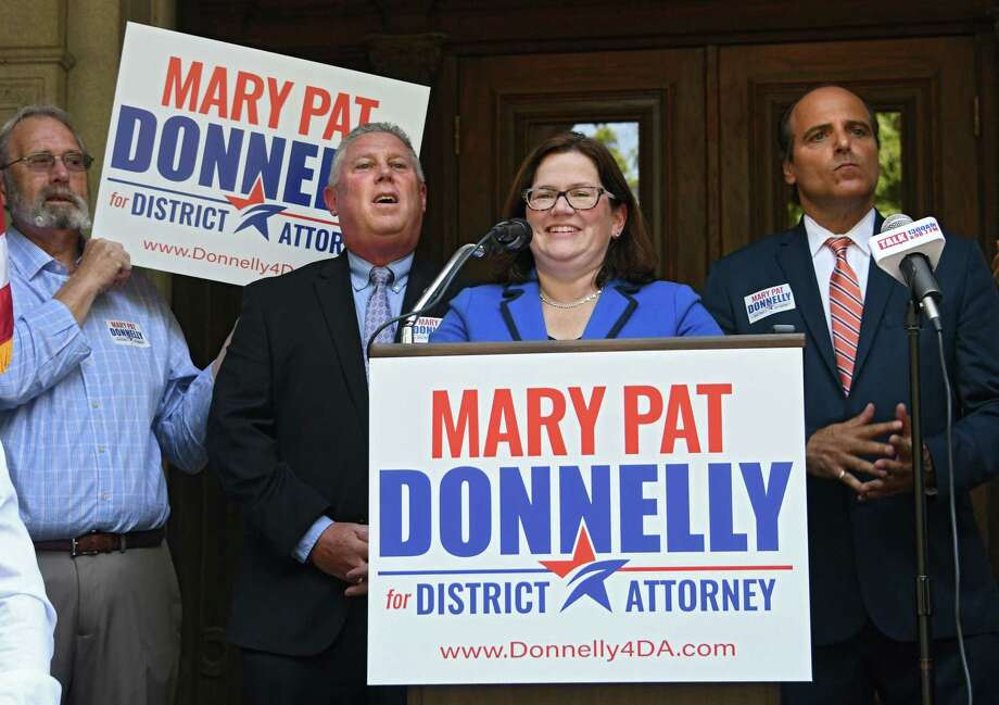 Mary Pat Donnelly, Democratic candidate for Rensselaer County DA, makes an announcement to run for Rensselaer County District Attorney at the Rensselaer County Court House on Thursday, July 12, 2018 in Troy, N.Y. (Lori Van Buren/Times Union) Photo: Lori Van Buren / 20044322A