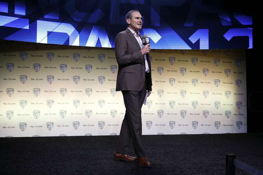 Pac-12 commissioner Larry Scott speaks at the Pac-12 Conference NCAA college football Media Day in Los Angeles, Wednesday, July 25, 2018. (AP Photo/Jae C. Hong) Photo: Jae C. Hong / Associated Press