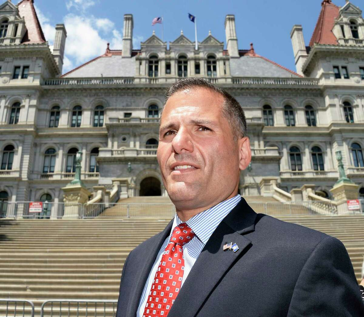Gubernatorial Candidate Marc Molinaro arrives at the Capitol to call on the office of the United States Attorney to investigate possible federal laws broken by Governor Andrew Cuomo Wednesday July 18, 2018 in Albany, NY. (John Carl D'Annibale/Times Union)