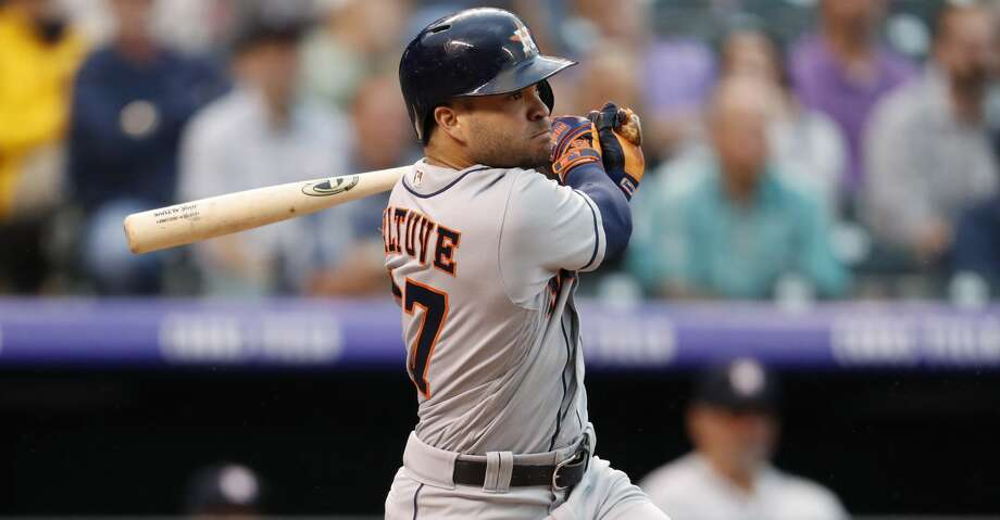 Houston Astros' Jose Altuve watches his RBI-double off Colorado Rockies starting pitcher Jon Gray during the fourth inning of a baseball game Wednesday, July 25, 2018, in Denver. (AP Photo/David Zalubowski) Photo: David Zalubowski/Associated Press
