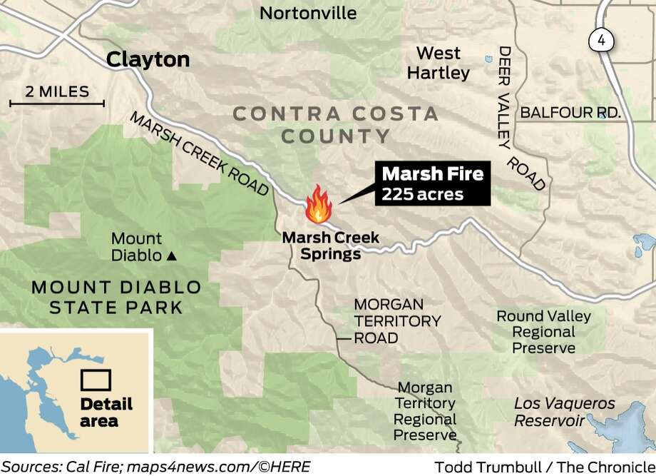 Marsh Fire doubles to 225 acres in Clayton, burning one home ... on