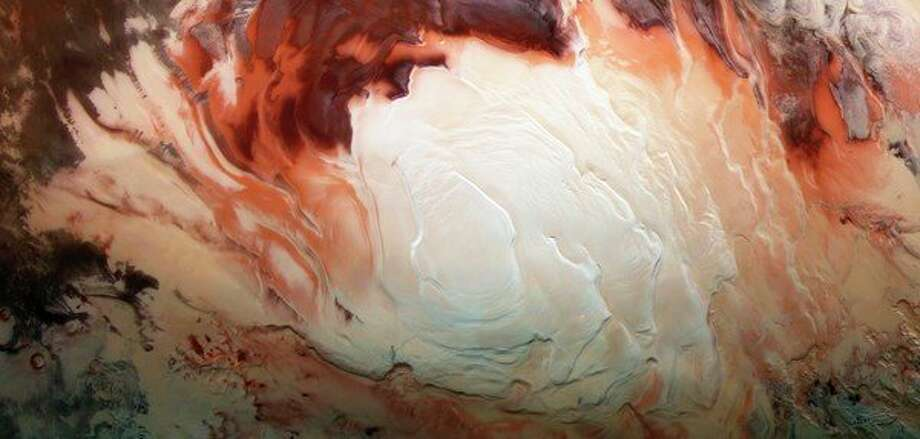 Cappuccino swirls at Mars south pole. (photo provided)