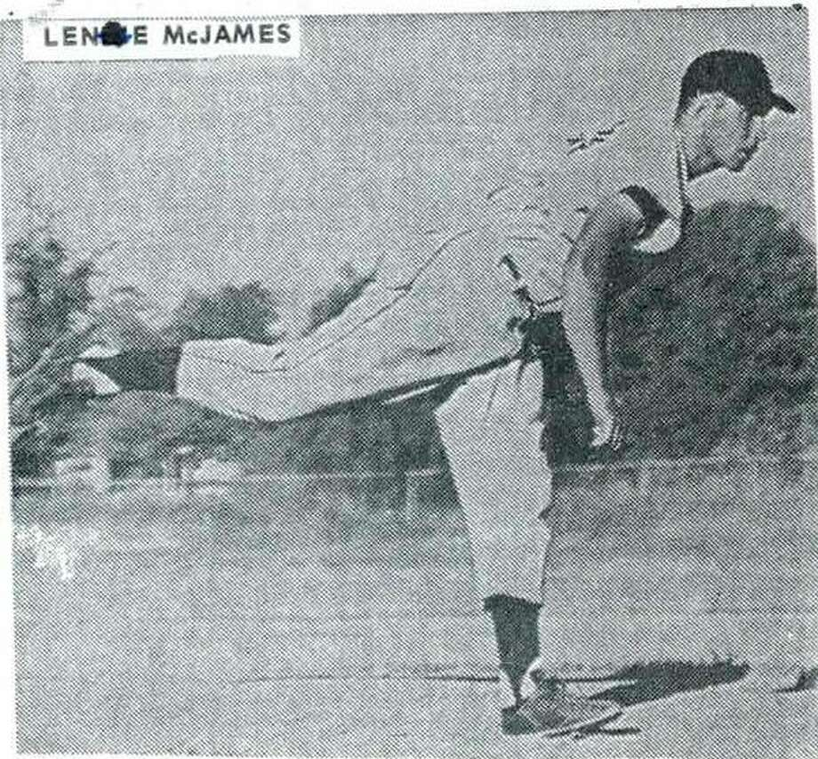 Leonard McJames as a pitcher in the Central Michigan Area League in the early 1960s.
