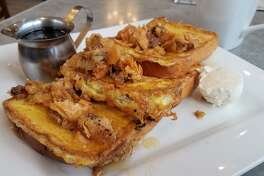 French toast covered in the sticky goodness that is baklava, the crunch of pistachios and walnuts, and the mellow sweetness of honey. My friends, don't walk but run to the Uptown Grill, located at 3 East Main Street on Bay City's east side. (Matthew Woods | for the Daily News)