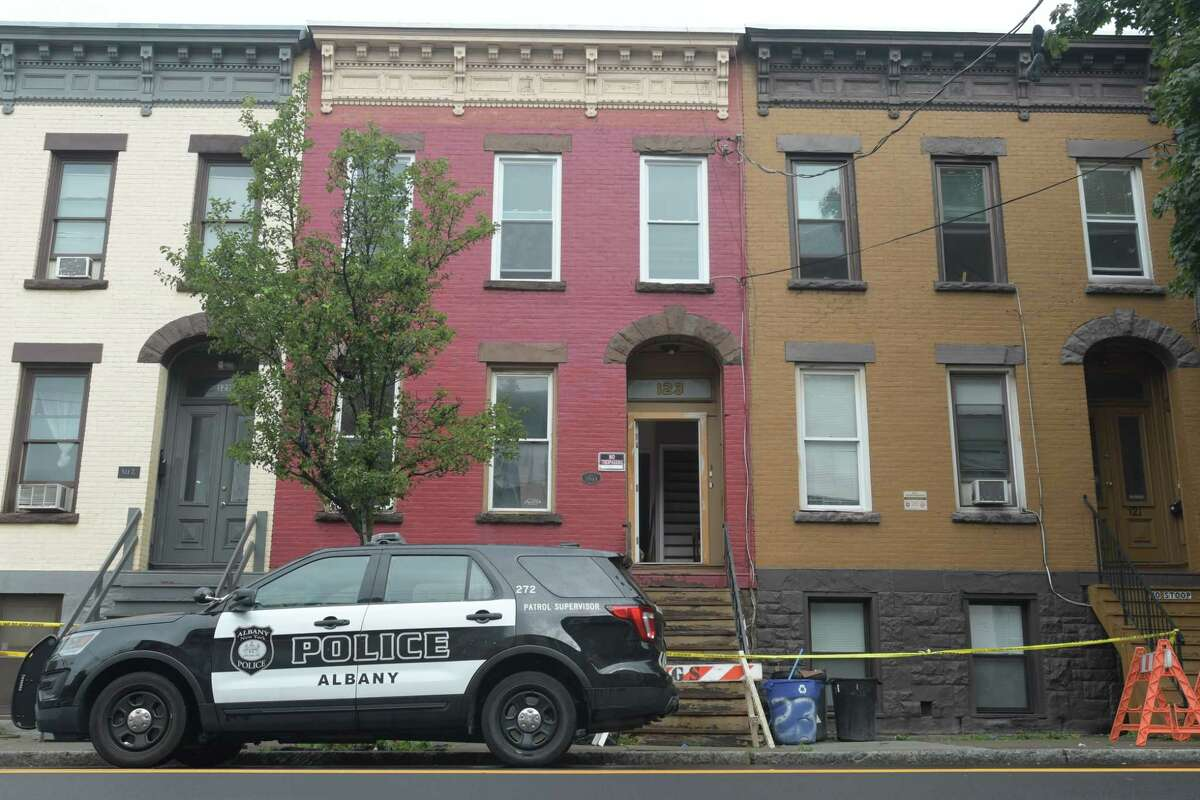 A view of the scene at 123 Lark Street on Thursday, July 26, 2018, in Albany, N.Y. A stabbing took place in an apartment in the building late Wednesday night. (Paul Buckowski/Times Union)