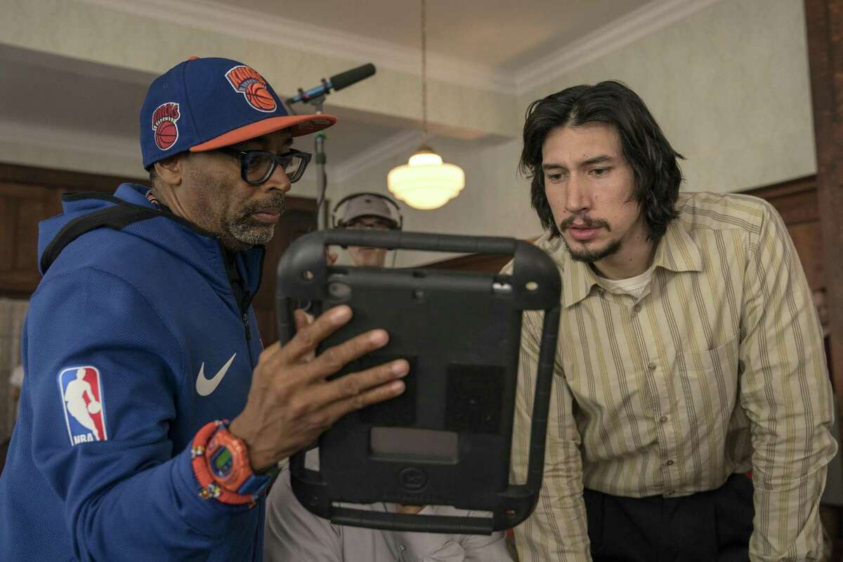 "Spike Lee and Adam Driver on the set of Spike Lee's ""BlacKkKlansman."""