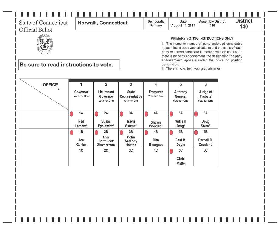 A sample ballot for the Democratic primary on Aug. 14.