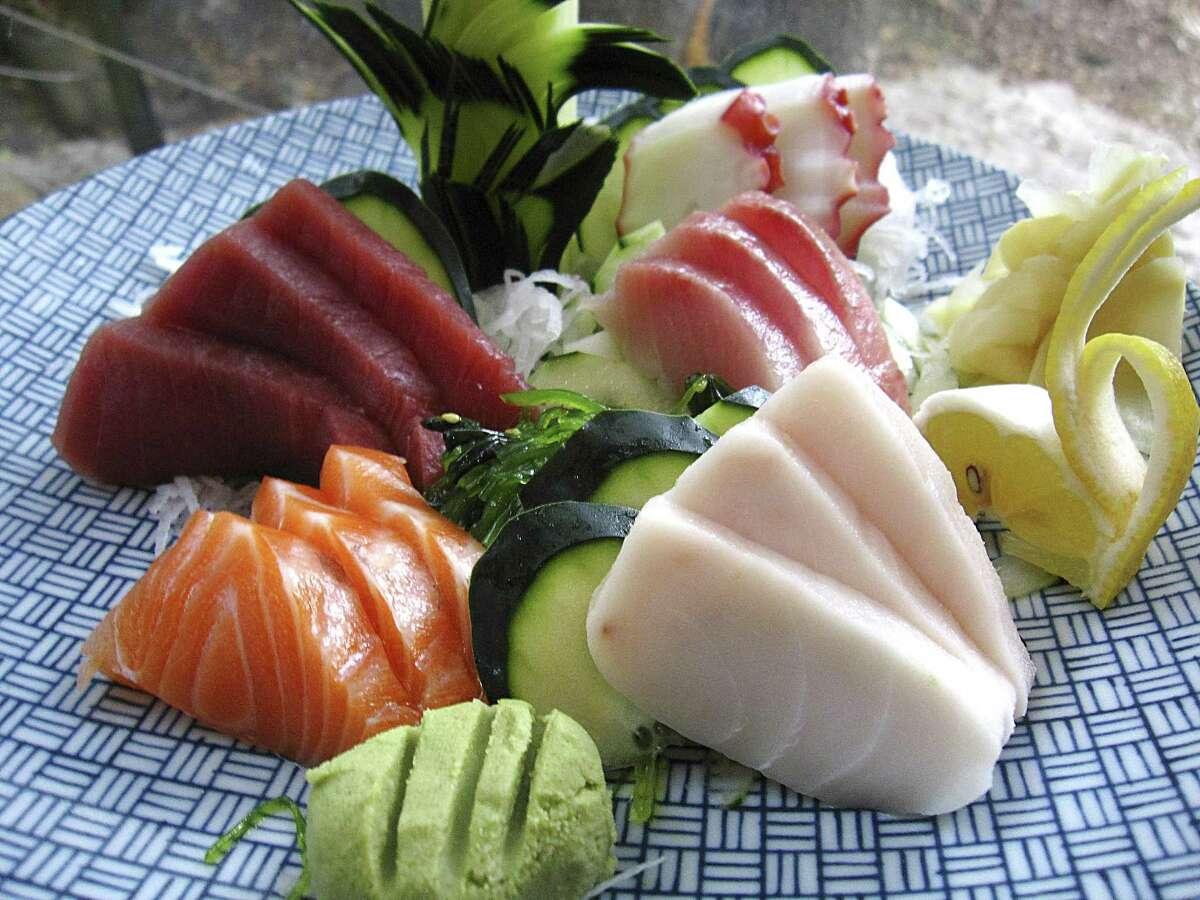 Sashimi plate with salmon, tuna, octopus, snapper and whitefish from Koi Kawa.